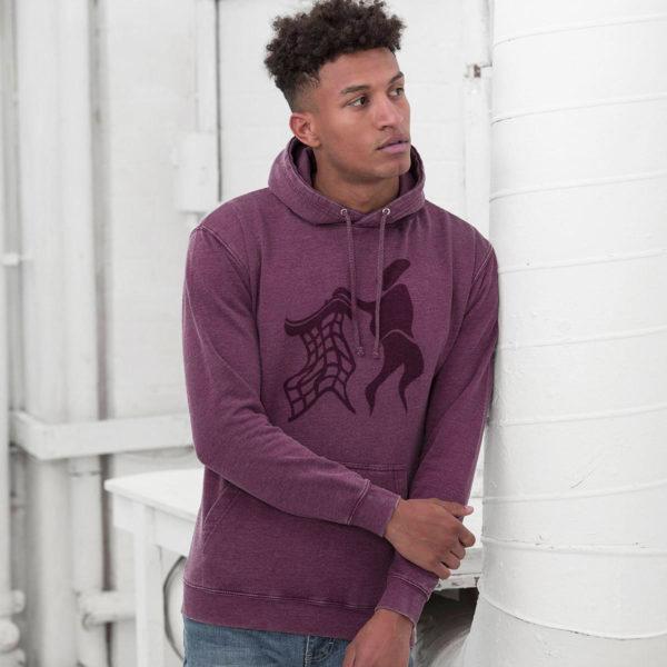 purple untidy hoodie