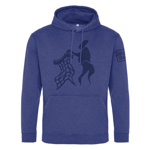 untidy blue hoodie