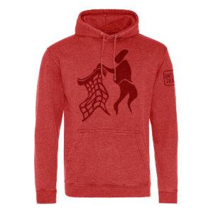 red untidy hoodie