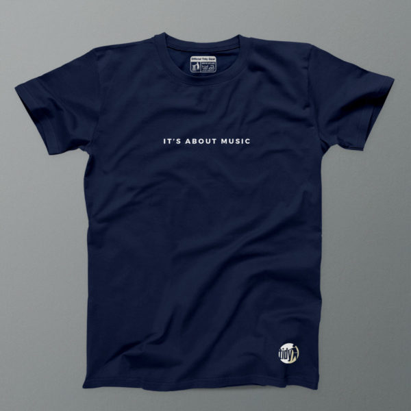 its all about the music navy tee