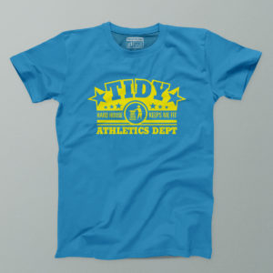 Tidy athletics blue and yellow mens tee