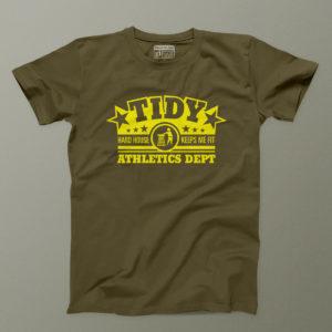 tidy athletics yellow on khaki mens tee