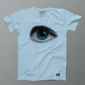 mens power eye t shirt sky blue