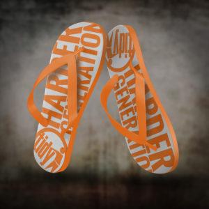 tidy orange flip flops
